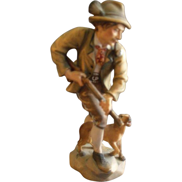 "Hans & Adolf Heinzeller Wood Carving of ""Bavarian Gentleman Hunter With His Dog"""