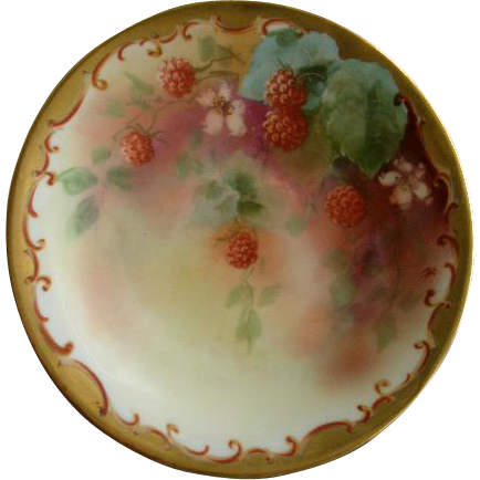 Pickard Studio Hand Painted Cabinet Plate w/Red Raspberries & Vines Motif