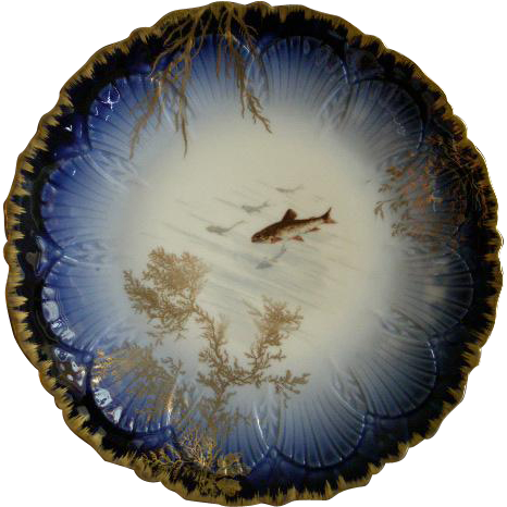 Delinieres & Company France Decorated Cabinet/Serving Plate w/Fish & Seaweed Motif