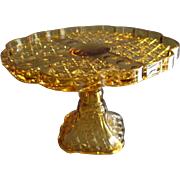 EAPG - Daisy and Button w/Thumbprint Panel Pedestal Cake Stand - Amber Glass
