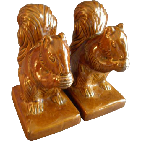Van Briggle Pottery - Pair Figural 'Squirrel' Bookends - Brown High Gloss Glaze
