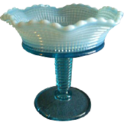 Model Flint Glass Company - Blue Opalescent 'Ribbed Spiral' Pattern Jelly Compote