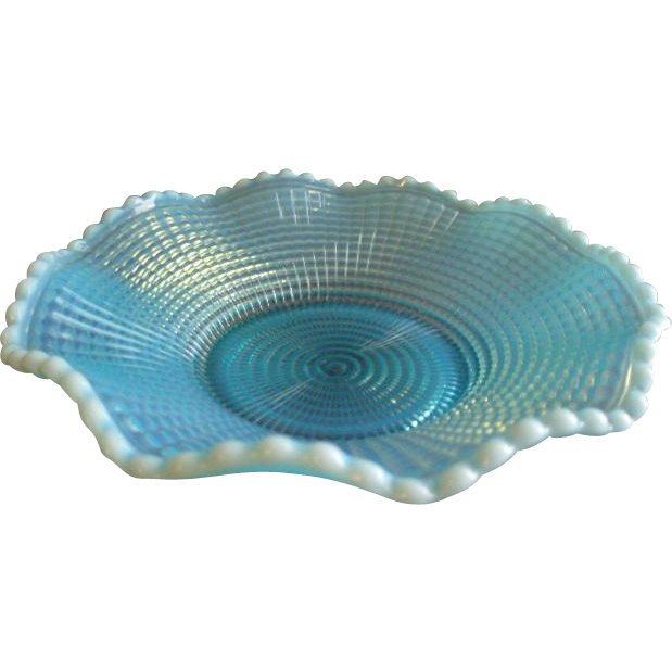 Model Flint Glass Company - Blue Opalescent 'Ribbed Spiral' Pattern Candy or Nut Dish
