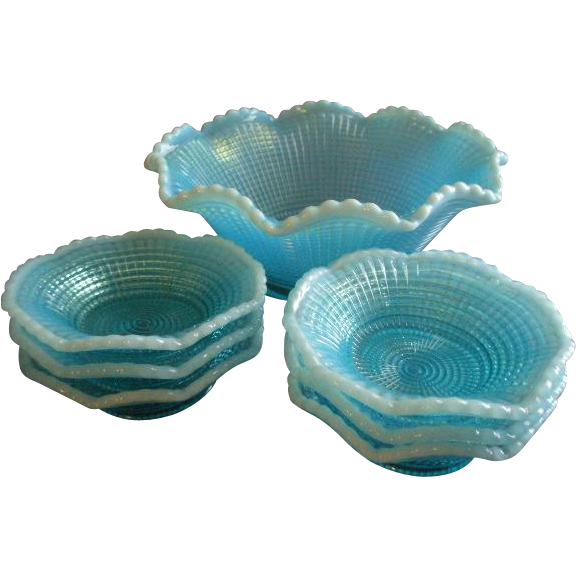 Model Flint Glass Company - Blue Opalescent 'Ribbed Spiral' Pattern 7-Piece Fruit/Dessert Bowl Set