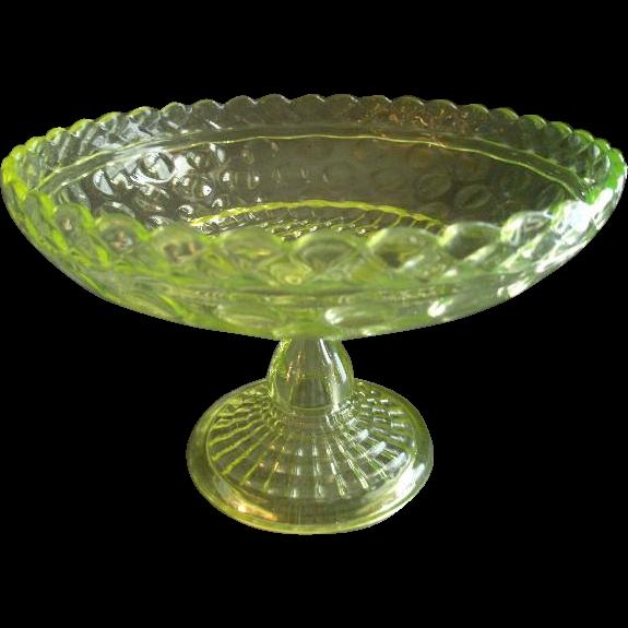 Central Glass Company Vaseline (Uranium) Glass 'Lattice & Thumbprint' Open Compote #796