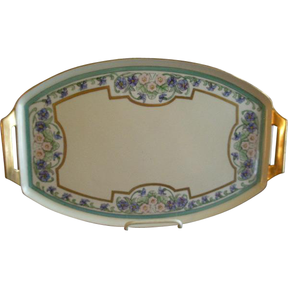 Thomas Bavaria Hand Painted Art Deco Serving/Dresser Tray w/Floral Motif