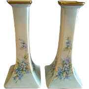 Bernardaud Limoges Hand Painted Pair of Candlesticks w/Delicate Blue Floral Motif