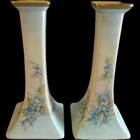 Bernardaud Limoges Hand Painted Pair of Candlesticks w/Delicate Blue Floral Motif