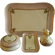 Porcelain Hand Painted 6-Piece Dresser/Vanity Set w/Flower Filled Baskets Motif