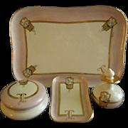 Porcelain Hand Painted 6-Piece Dresser/Vanity Set w/Flower Filled Baskets Motif