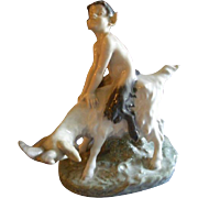 "Royal Copenhagen Figurine ""Faun Riding A Goat"" #737, Sculptured by Christian Thomsen"