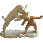 "Wallendorf Schaubach Kunst Porcelain ""Nude Child With Young Goat"" Figurine"