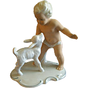"Wallendorf Schaubach Kunst Porcelain ""Nude Child With Young Kid Goat"" Figurine"
