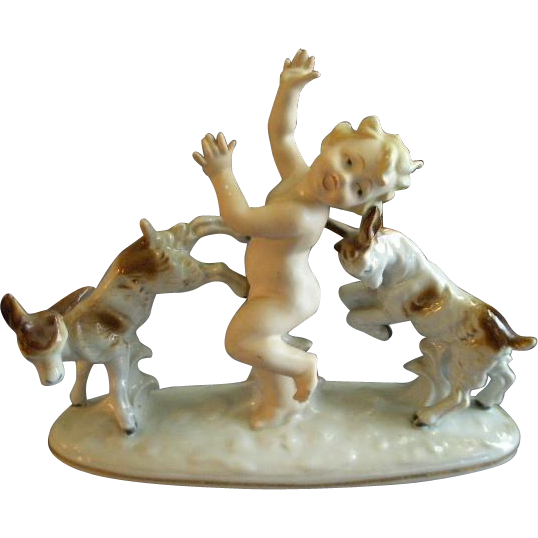 "Carl Scheidig Porcelain ""Nude Child With Two Young Kid Goats"" Figurine"