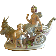 "Ebeling & Reuss Co. ""Goat Pulled Chariot With Partially Nude Child & Woman"" Figurine"