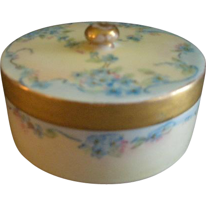 "Bavaria Porcelain Hand Painted ""Forget-Me-Not"" Pattern Powder/Trinket Box"