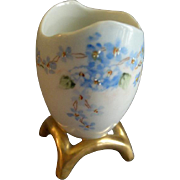 "Porcelain Hand Painted ""Forget-Me-Not"" Pattern Egg Toothpick Holder"