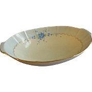 "Hutschenreuther Porcelain Hand Painted ""Forget-Me-Not"" Pattern Large Oval Serving Bowl"