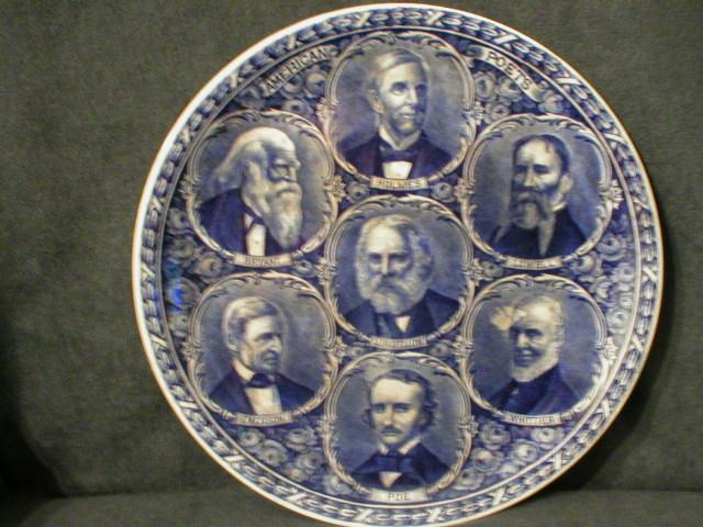 "Rowland & Marsellus Blue-Transfer ""American Poets"" Plate"