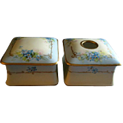 Julius H Brauer Studio Hand Painted Forget-Me-Not Pattern Powder Box & Hair Receiver Set