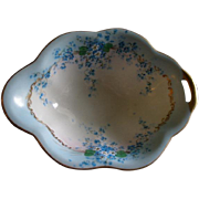 "Luken Studio Hand Painted ""Forget-Me-Not"" Pattern Oval Candy/Nut/Relish Dish w/Cut-In Handle"
