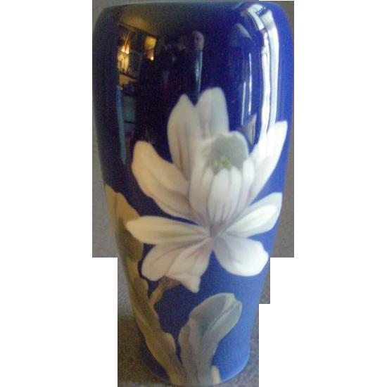 Royal Copenhagen Cobalt Blue White Floral Pattern Vase Brys