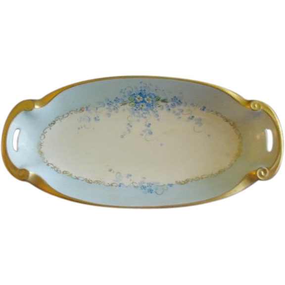 "Porcelain Hand Painted ""Forget-Me-Not"" Pattern Rectangular Relish Dish"