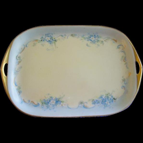 Porcelain Hand Painted FMN Pattern Dresser/Serving Tray - Artist Signed
