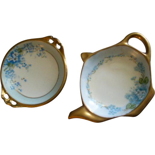 Hand Painted Porcelain FMN Pattern Tea Bag Holders (2) - One Luken Studio, One Home Studio