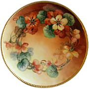 Haviland & Co., Limoges Hand Painted Cabinet Plate w/Nasturtium Blossoms Motif