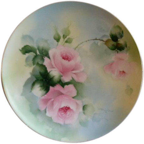 Haviland & Co., Limoges Hand Painted Cabinet Plate w/Pastel Pink Tea Rose Blossoms Motif