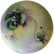 Haviland & Co., Limoges Hand Painted Cabinet Plate w/Purple Wild Violet Blossoms Motif