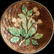 Victorian Majolica Plate w/ Basketweave, Floral, Berries & Foliage Motif