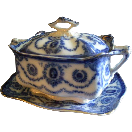 "T Rathbone & Co., Flow Blue ""Princess"" Pattern Sauce/Gravy Tureen & Tray"