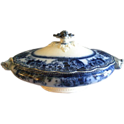 "Johnson Bros. Flow Blue ""Montana"" Pattern Oval Covered Vegetable Tureen"