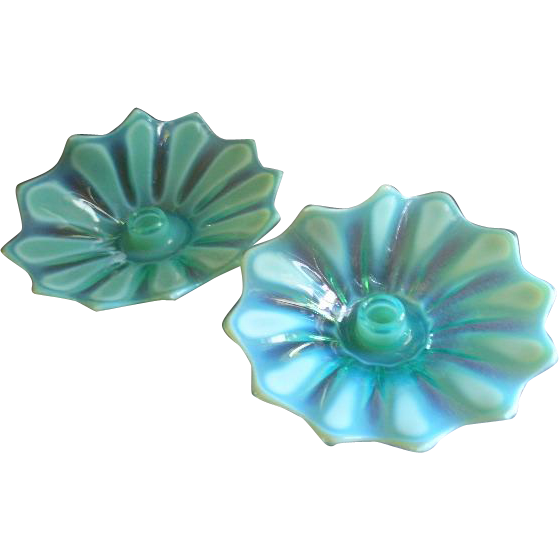 "Fostoria Glass Green Opalescent 'Heirloom"" Pattern - Pair of Candle Holders"