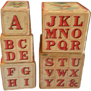 """McLoughlin Bros. """"Our Darlings"""" Set of 5 Nested ABC Picture Blocks"""