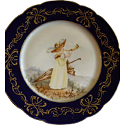 Jean Pouyat (JPL) Limoges Hand Painted Portrait Plate of a Young Lady Playing An English Hornpipe