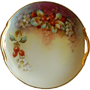Stouffer Studio Hand Painted Currant Berries & Blossoms Motif Cabinet/Serving Plate