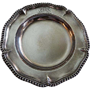 "Edward, Edward Jnr, John & William Barnard London Sterling 'Georgian Plate w/Gadroon Border & Engraved Crest"" - Dated 1844"