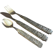 "Vintage Set of 15 Pcs. HS Konge-Tinn Pewter - Norway - ""Royal Pewter"" Pattern (Five - 3Pc. Place Settings)"