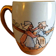 T&V Limoges Hand Painted Child's Mug w/Dutch Scene of Children Herding Geese