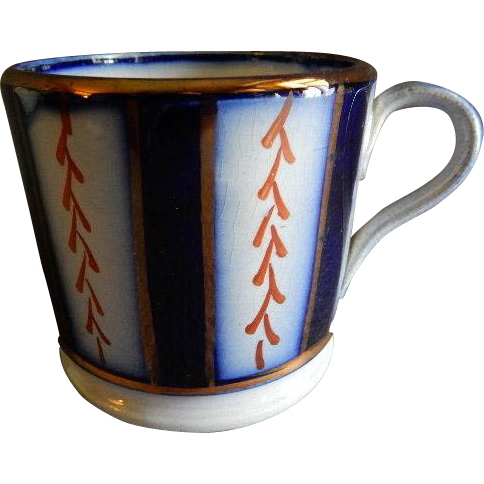 "Flow Blue 'Wagon Wheel"" Pattern Child's Mug"