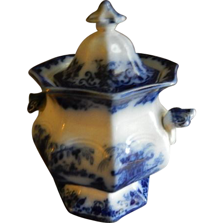 """J Clementson Ironstone Blue Transfer-ware """"Hyson"""" Pattern Covered Sugar Bowl"""
