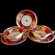 Dresden Porcelain - (2) Cream Soups w/Saucers + Saucer - Dresden Flowers Motif - Franziska Hirsch