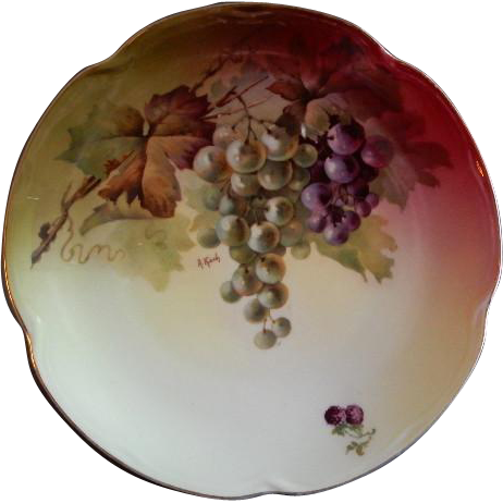 "Jaeger & Co. Porcelain ""Fruit Motif"" Cabinet Plate - Signed A Koch"