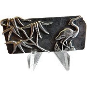 George W Shiebler Company Sterling Silver Pre-1900 Aesthetic Japanesque  Bar Brooch