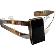 "Mexican Modernist Sterling Silver & Onyx ""Cuff"" Bracelet"