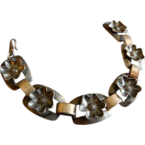 Bell Trading Company Mid-Century Sterling Silver Floral Link Bracelet