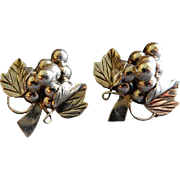 "Mexican Mid Century Sterling Silver ""Grape Cluster"" Clip-Back Earrings"